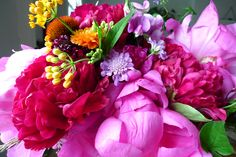 Here's a lovely late June flower arrangement with Peonies, Echinacea ...