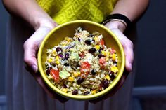 1 ripe avocado, diced 1 medium tomato 1/2 can of black beans 1 1/2 cup of frozen corn  1 thin slice of a red onion 1 cup of feta cheese w quinoa