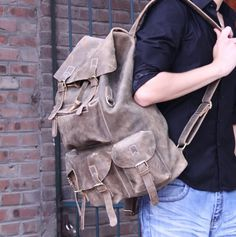 Large Handmade Genuine Leather Backpack Traveling Bag - in Superior Crazy Horse Leather