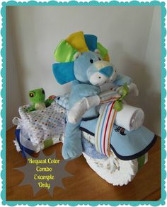 Diaper Motorcycle with Side Car - Baby Shower Gift - Baby Shower Centerpiece- Boy via Etsy.