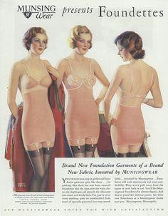Munsing Wear presents Foundettes! Wonderful vintage ad .... presenting new two way stretch fabric!!!!! Amazing......