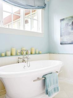 A bright sanctuary for an early morning bath.