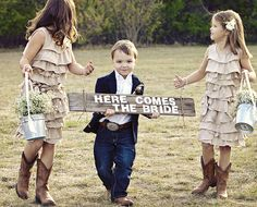 Cute sign for flower girls/ring bearers to carry. Loving those little country girls and country boy! <3