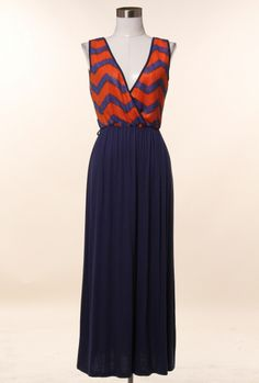 Embarkation Day Chevron and Solid Pattern Block Maxi Dress in Rust/Navy