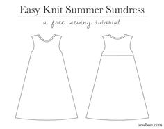 Easy Knit Summer Sundress Sewing Tutorial by Sewbon.com