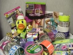This would make an awesome raffle basket or auction gift basket.  So much can be done with duct tape!!