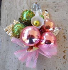 Vintage Christmas Corsages Mercury Glass Balls