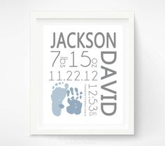 Birth Announcement Wall Art -  Baby Boy Nursery - Personalized Baby Footprint & Handprint - Baby Name Art - Nursery Decor. $30.00, via Etsy.