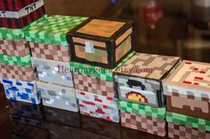 minecraft party favor | Minecraft Trinket/Keepsake/Gift/Party Favor Boxes Redstone Cake ...