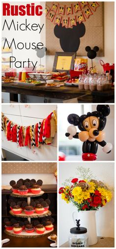 Such pretty rustic Mickey Mouse girl birthday party ideas! See more party ideas at CatchMyParty.com.