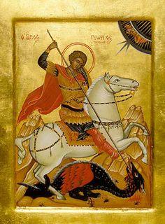 Saint George, hand-painted