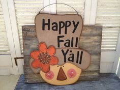 Large Happy Fall Yall Scarecrow Door Hanger Fall Home Decor Sign Autumn Decor Hanger