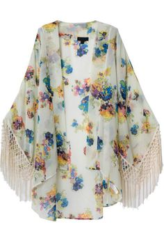 Apricot Long Sleeve Floral Tassel Loose Kimono 25.00 // somewhere between hippie, chic, and elegant