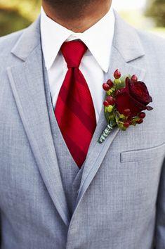 Grey Groom's tux with cranberry tie