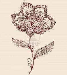 like the flower stem & henna pattern.  just add heart flower of sorts in henna pattern with color within the pattern tattoo idea, lace flowers, vector illustrations, henna tattoos, art, doodl, hennas, flower tattoos, lace tattoo