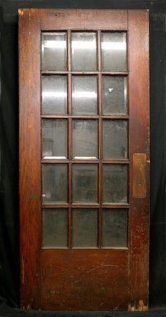 "36""x83"" Antique French Exterior Entry Oak Door 15 Beveled Glass Lite Window Pane"
