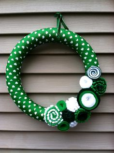 St. Patricks Day Wreath - Green & White Shamrock Ribbon Wreath decorated w/ felt flowers.  Shamrock Wreath - St. Patty's Wreath.