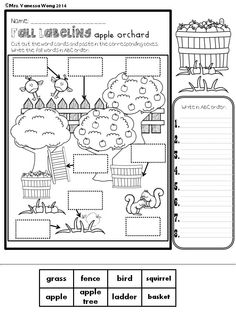 Fall labeling Freebie   Help the kids to learn fall vocabularies with labeling activities.   Three fall scenes are included.   *Scarecrow and falling leaves  *Apple orchard