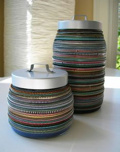 DIY;  zipper jars No tutorial, you don't need it.  Glue zippers onto jars, they look cool!  That's all!