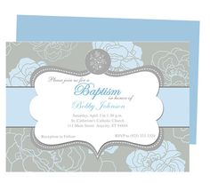 Chantily Baby Baptism Invitation Templates. Printable DIY christening invitations template. Customize your baby's name and info.  Edit with Word, Publisher, Apple iWork Pages, OpenOffice. Easy to edit and print.