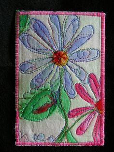 Fabric embellished postcard