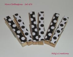 Mini Clothespins - SET OF 6 - Black and White Polka Dots  $2.75 - Will DIY