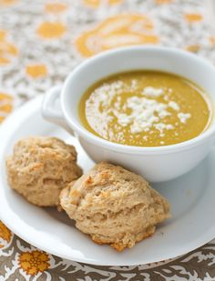 Sounds delicious :: Curried Sweet Potato Soup with Easy Goat Cheese Drop Biscuits