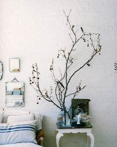 mirror, interior design, bedroom decor, bedroom design, white, hous, tree branches, bedside tables, bedrooms