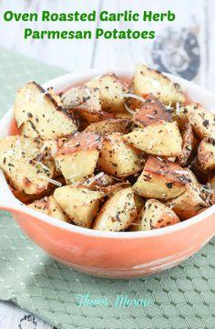 Oven Roasted Garlic Herb Parmesan Potatoes - Flavor Mosaic - #parmesan #roasted #potatoes
