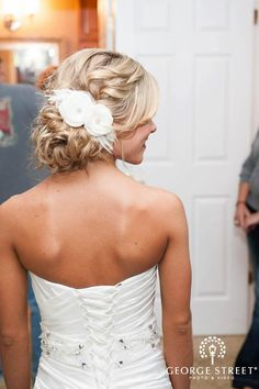 wedding hair? Back of dress is pretty too.