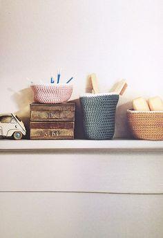 Ravelry: Bathroom Storage Vessels pattern by Sara Sinaguglia (from the book: Simple Crochet) #crochet #basket