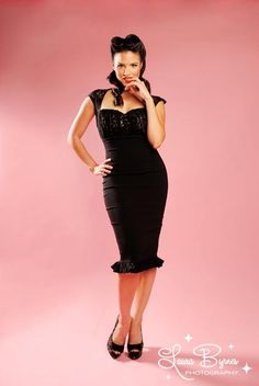 The Micheline Dress in Black with Black Lace