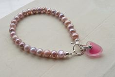 Pink Freshwater Pearl Bracelet with Rare Sea Glass by SeahamWaves, £22.00