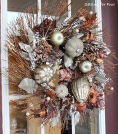 Animal Print Fall Wreath from Setting for Four