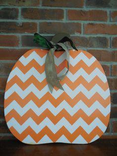 Chevron Pumpkin Wooden Door Hanger