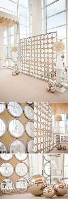 modern gold and silver wedding ceremony backdrop ideas, photos by Krakora Studios