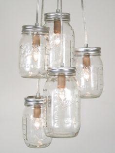 decor, idea, masons, lighting, chandeliers, jar lights, cluster chandeli, jar chandeli, mason jars