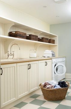 Classic Country Laundry Room. photo Michael Graydon.  House & Home open shelves, floor, cabinet, room storage, farmhouse style, dream laundry rooms, laundri room, storage ideas, open shelving