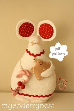 Patrón de costura: Ratón - Softie patrón del ratón de patrones de Navidad - marioneta de Navidad patrón-Mouse patrón pdf