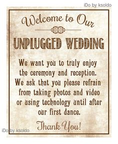 Unplugged Wedding Sign Rustic/Vintage - 8 x 10 - No Cell Phones - Turn Off - Unplugged Sign - Instant Download on Etsy, $6.00
