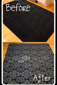 Stencil a cheap rug!