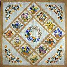 """Blooms & Baskets"" by Heather Weatherald.  South Australia quiters guild:  2009 award bloom basket, appliqu quilt"
