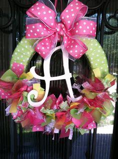 Baby Ribbon Wreath, Nursery, Hospital Door, Baby Shower. $65.00, via Etsy.
