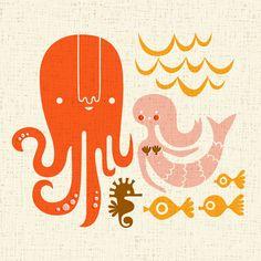 octopus garden giclee print 12X12 by ThePaperNut on Etsy