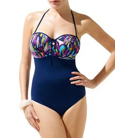 Loving this Navy Pebbles Full-Fit One-Piece on #zulily! #zulilyfinds
