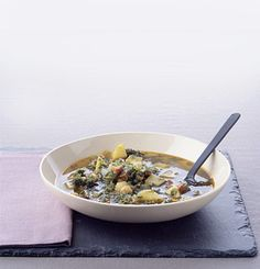Kale and Chickpea Soup Recipe | Epicurious.com #veggie #vegetable #myplate