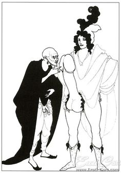 Lysistrata 02 : Erotic Ink Drawing by Aubrey Beardsley.  (Name of drawing unknown).  1872 - 1898  Scene from Lysistrata