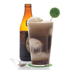This Saint Patrick's Day, enjoy a cocktail version of a root beer float: vanilla ice cream topped with Irish stout -- Stout and Ice-Cream Float Recipe