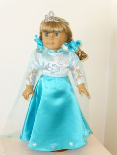Elsa costume from Frozen  Fits 18 American girl doll or by spa1800, $32.95