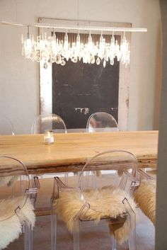 Glitter Guide - Wood Table - Ghost Chair - Sheepskin